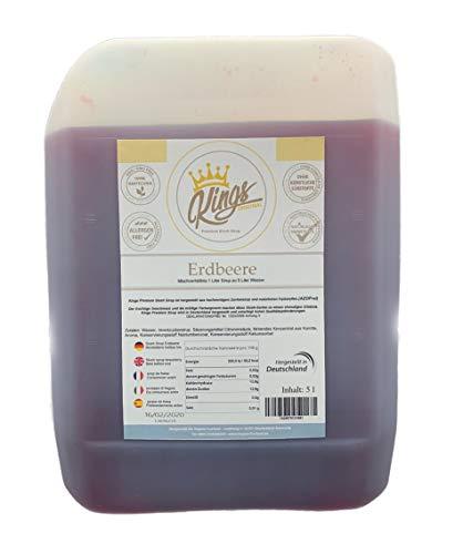 Erdbeer-kanister (Kings Premium Slush Erdbeere Sirup 5 Liter Kanister AZO Frei 1:5 Ergibt 30 Liter Slush Eis Erdbeere Made in Germany)