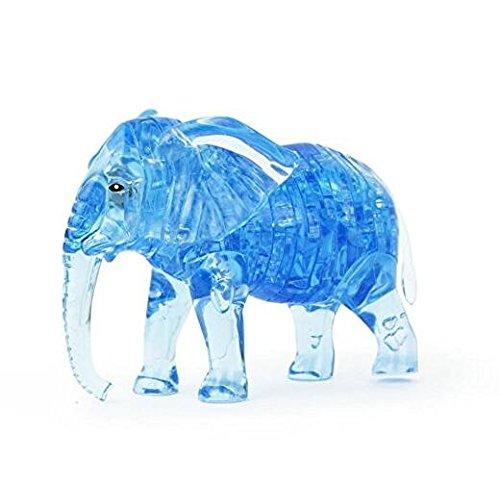 BLxi Puzzle de cristal 3D con forma de elefante (azul)