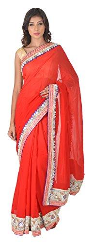 Nari Ratna Fashion Women's Viscose Saree (Red)