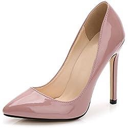 OCHENTA -11CM Zapatos de Tacón de Aguja Puntiagudo Punta Cerrada Diseño Elegante Modo para Fiesta y Boda para Mujer Desnudo Rosa Asiatique 36-EU 35.5