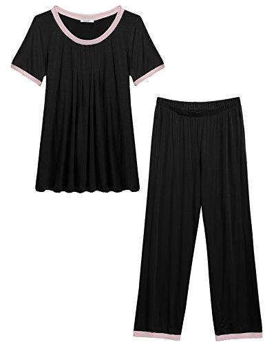 Unibelle pigiama due pezzi pigiami estivi donna collo a u vestaglia ragazza maniche corte con pantalocini nero xl