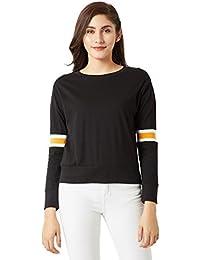 Miss Chase Women's Black Cotton Sweatshirt