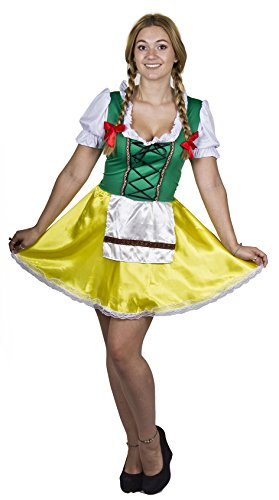 LADIES-BAVARIAN-BEER-GIRL-FANCY-DRESS-COSTUME-OKTOBERFEST-WOMENS-BEER-GERMAN-MAID-WENCH-BEER-FESTIVAL-GREEN-YELLOW-DRESS-WITH-APRON-SIZES-8-22