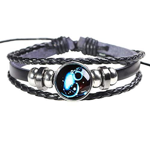 SGRMYS Star Sky Luminous Bracelet Armband 12 Constellation Leder Perlen Armband Männer und Frauen Paar Armband Schmuck Blau (Luminous Dance Kostüm)