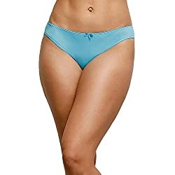 Zivame Womens Plain Bikini (ZI2001_Blue_Large)