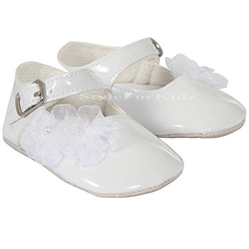 Luxus British made Baby Girl Taufe besonderen Anlass Partei weiß/Creme/Pink Neugeborenen bis 18 Monate Booties/Schuhe (Weiß, EU 16 (0-3 Monate))