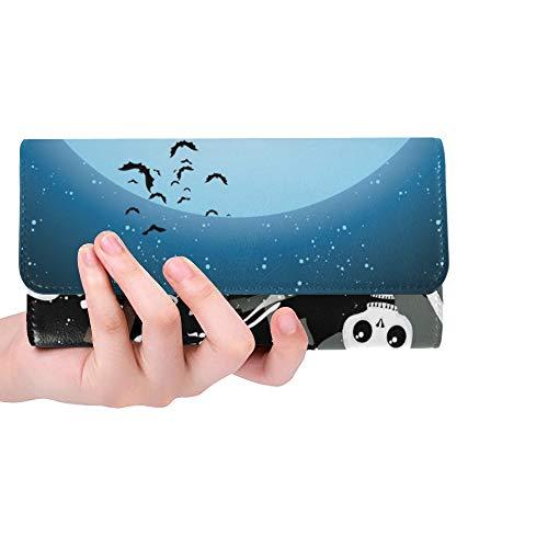 Einzigartige benutzerdefinierte Halloween Skelett Holz Frauen Trifold Wallet Lange geldbörse kreditkarteninhaber case Handtasche (Benutzerdefinierte Leder Kostüm)