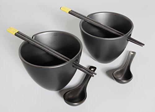Aricola Saladier/Bol à soupe/baguettes/cuillères/Bols Set de 6 Pièces en Céramique/Bambou Noir, original Aricola®