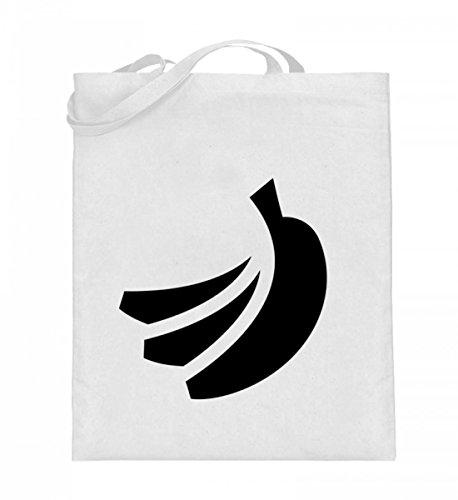 Hochwertiger Jutebeutel (mit langen Henkeln) - Jutebeutel Banane Weiß