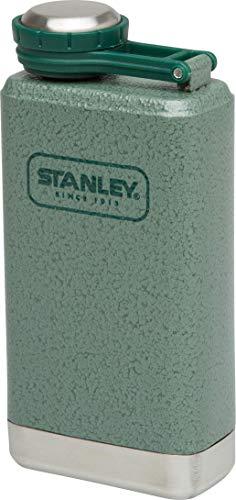 Stanley Adventure kompakter Flachmann, 0.14 L, Hammertone Green, 18/8 Edelstahl, Auslaufsicher, mit Deckelsicherung -