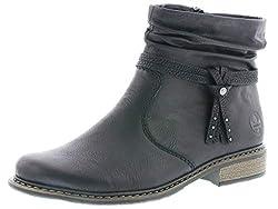 Rieker Damen Stiefeletten Z4953, Frauen Biker Boots, gefüttert Winterstiefelette Damen Frauen weibliche Lady,schwarz,39 EU / 6 UK