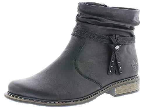 Rieker Damen Stiefeletten Z4953, Frauen Biker Boots, Ladies feminin elegant Women's Women Woman Freizeit leger,schwarz,40 EU / 6.5 UK