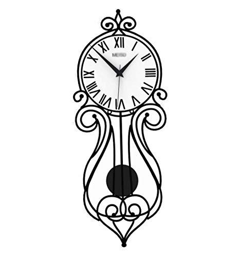 BAIF Pendel Wanduhr, Europäischen Stil Blumen Rechteck Schwarz Und Weiß Wanduhr Spalte Schmale Schlafzimmer Restaurant Quarzuhr 57-75 cm mehr Dekoration (Größe: 23 * 57 cm)