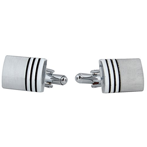 Tripin Silver Rectangle Cufflinks For Men With Classic Finish