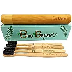 Cepillo de dientes de bambú, 100% natural Biodegradable | cero envases de plástico | carbón natural Dientes whitening| respetuoso con el medio ambiente, vegana, cerdas de madera cepillo de mango de madera de bambú | medio firmeza |charcoal sin BPA con cerdas de nylon | cuidado dental para hombres, mujeres y niños, familia PACK de 4| libre bambú estuche de viaje por boobrush