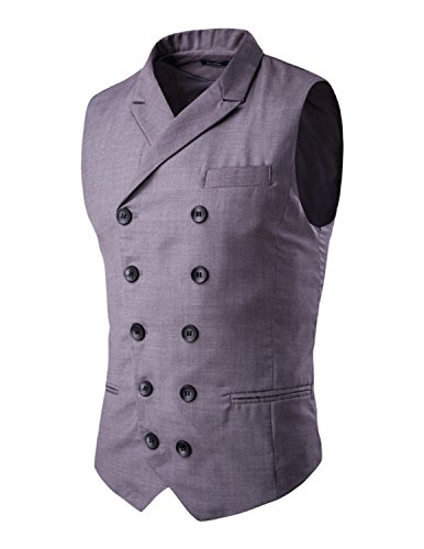 Boom Fashion Mode Gilet Veston Veste Costume Sans Manches Slim Homme Branché Double Bouton Grau