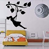 Waofe Ragazza Sul Ramo Di Un Albero Altalena Kids Room Decor Parete Vinyl Art Sticker 58X64Cmcm