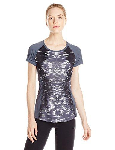 New Balance Damen Ice Short Sleeve WT61229 Nb Ss, Black Multi, M - Multi-ss T-shirt Top