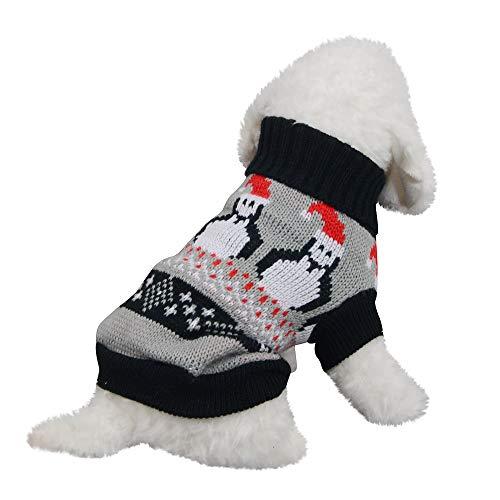 Amphia Haustier Kostüm - Weihnachten Haustier Hund Rollkragenpullover,Weihnachten Hund Katze Winter Warme Rollkragenpullover Mantel Kostüm Bekleidung(Grau,M)