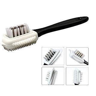 Kuou 4-Sided Suede Brush, Multifunctional Nubuck Brush, Brass and Nylon Bristle Brush, Suede Leather Nubuck Shoe Boot Cleaning Brush