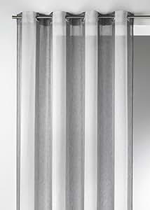Home Maison-Tenda voile Etamine 09382-8-AL fantasia a righe verticali con occhielli rotondi in alluminio, grigio, 150x260