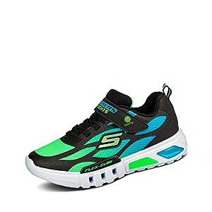 Skechers FLEX-GLOW, Boy's Flex-Glow Trainers, Black (Black Synthetic/Textile/Blue & Lime Trim Bblm), 1 UK (33.5 EU)