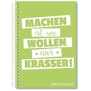 Wochenplaner Kalender Schülerkalender Wochenkalender Uni-Planer Terminplaner 2020 A5 ohne festes Datum für 365 Tage (Grün)