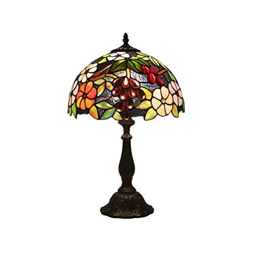 ACHNC Tiffany Stil Tischlampe,Pastoral Gorgeous Nachttischlampe 12 Zoll Glasmalerei Art Deco Nachttisch Lampen, für Wohnzimmer Schlafzimmer,Zinklegierung,E27