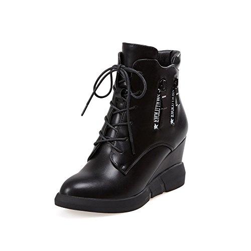 AllhqFashion Damen PU Leder Hoher Absatz Rein Ziehen auf Stiefel, Schwarz, 34