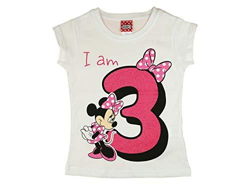 Mädchen Baby Kinder dritter Geburtstag Kurzarm T-Shirt 3 Jahr Baumwolle Birthday Outfit GRÖSSE 98 104 Minnie Mouse Disney Design Glitzer Weiss oder Rosa Babyshirt Oberteil Farbe Weiss, Größe 104