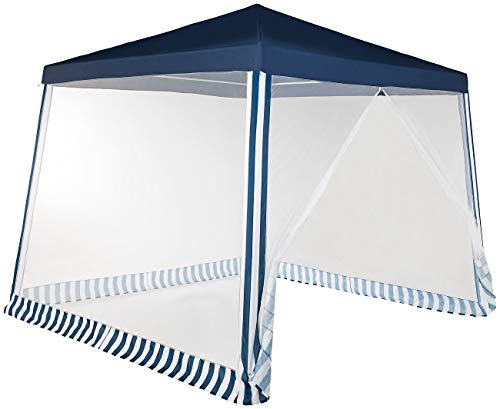 Royal Gardineer Pavillon: Pavillonzelt mit Moskito-Netz, 300x300x236 cm, 280 Mesh, blau/weiß (Partyzelt)