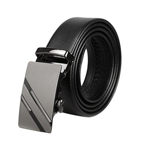 Lihaer Cinturón de Cuero para Hombre Cinturones Hebilla Automática  Cinturones para Caballero 24 9a6da1d85137