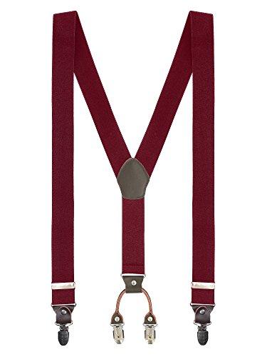 Herren Basic 4 Clips Y-Form Hosenträger Hochelastisch Längenverstellbar - 3,5*110cm für Körpergröße bis 180cm Einfarbig Bordeaux Rot