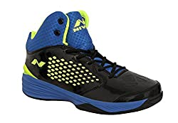 Nivia Mens Warrior-1 PVC Basketball Shoes, Mens UK 6 (Black Blue and Green)