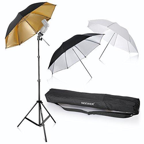 "Neewer Tres Paraguas Kit De 33 ""/ 84cm con Montura Para Flash Suave Blanca / Plata Reflectante / Dorado Reflectante Paraguas Para Canon 430EX II, 580EX II, Nikon SB600 SB800, Yongnuo YN 560, 565 SN, Neewer TT560, TT680"
