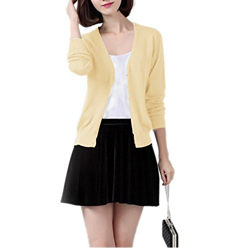 Winfon Cardigan Gilet Femme Manche longue Tricot Chandail Cardigans Pull Casual Col V Avec Boutons Jaune Clair