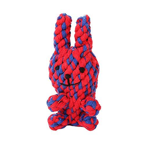 Hilai PC 1 Pet Chew Toy Baumwollschnur Kaninchen Spielzeug-Hund Tissue Schleifen Zahn Spielzeug Reinigung Biss Toy Interactive Durable Dog Pet Supplies (rot) (Kaninchen Zähne Kostüm)