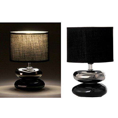 Dcasa - Lámpara mesita noche oriental negra cerámica