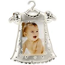 Bebé vestido de niña bañado en plata marco de fotos