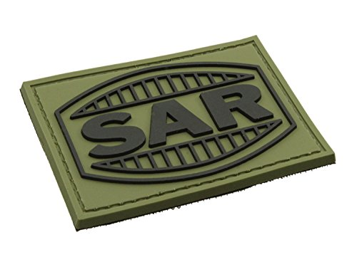 BEGADI 3D Rubber Patch/Abzeichen SAR - Schwaben Arms aus Hartgummi, mit Klett, 7x5cm - Olive (Sar-patch Klett)