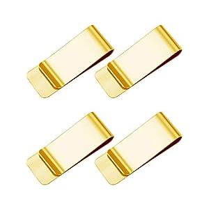 Geldklammer,4 Pack Geldscheinklammer Golden Geldclip Geldklammer Money Clip zum Männer und Frauen 55 * 20 * 1CM Messing