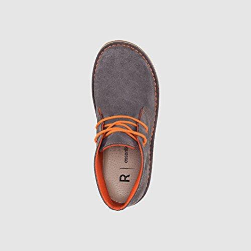 R Essentiel Bambino Boots Pelle Scamosciata Con Lacci Colorati Grigio