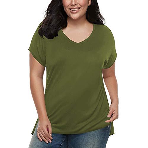 BURFLY Damen Sommer V-Ausschnitt Kurzarm Große Größe Casual T-Shirt Damen Einfarbig Lose Split T-Shirt T-Shirt