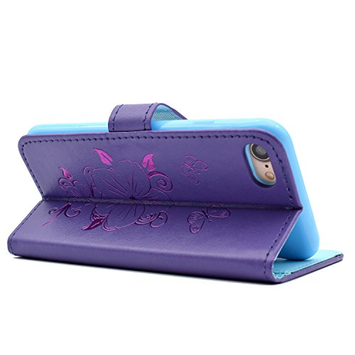 Voguecase® für Apple iPhone SE hülle,(Katzenbär 03) Kunstleder Tasche PU Schutzhülle Tasche Leder Brieftasche Hülle Case Cover + Gratis Universal Eingabestift Pfirsichblüte/Lila