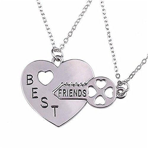Nuohuilekeji 2er-Set Anhänger Herz Schlüssel Liebe BFF Best Friend Eingekerbte Buchstaben Halskette Geschenk