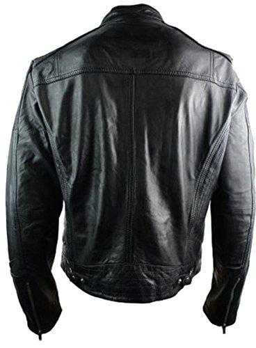 classyak Herren Fashion Retro-Stil Echt Leder Biker Jacke Cow Black