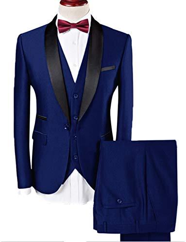 Lilis® Männer Anzug Hochzeit Anzüge Für Männer Schalkragen 3 Stücke Slim Fit Burgundy Anzug Herren Königsblau Smoking Jacke -