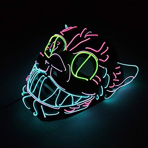 LED King Cat Mask for Halloween Party Decoration Glowing EL Light Full Face Mask Scary Horror Costume Prop Halloween - Monster High Cat Kostüm