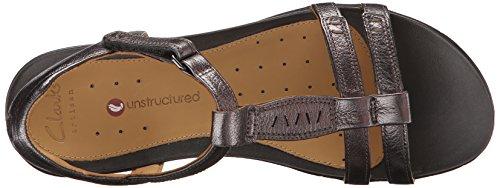 Clarks Un Vaze Dress Sandal Pewter Metallic Leather