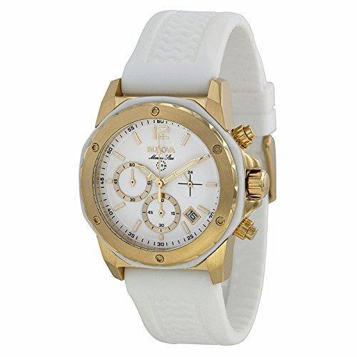 Bulova Bulova Marine Estrella Cronógrafo Blanco Dial Blanco Goma Damas Reloj 98M 117